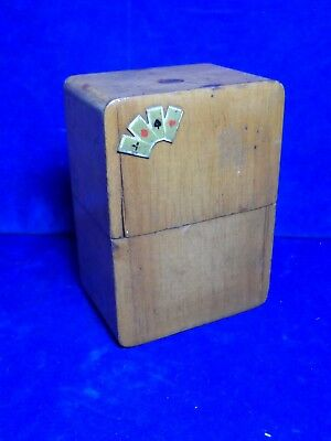 Old Antique Vintage Games Playing Card Box Case Holds 2 Packs - Possibly Walnut