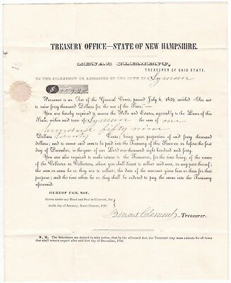 1840 Concord Nh Letter Signed By State Treasurer Zenas Clement - To Lyman Nh