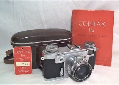 ZEISS CONTAX IIa W/ OPTON 50MM 1:2 - CLEAN W/ ORIGINAL HANG TAG / CASE / MANUAL