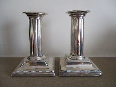 Pair Corinthian Column Silver Candlesticks Sheffield 1895 Atkin Brothers(faults)