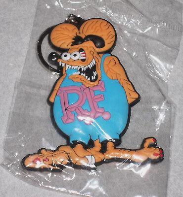 """Sealed--""""rat Fink"""" Double Sided Rubber Silicone Keychain-Blue/tan/pink/black!!!"""