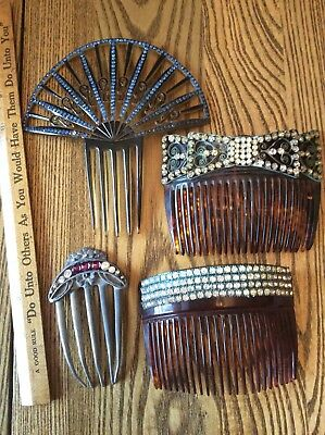 4 Antique Victorian Celluloid & Rhinestone 1 Pewter Hair Comb Lot Wire Plastic