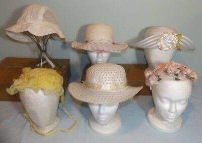Lot 6 VTG Girls Easter Church Hats Bonnet Flowers Straw Photo Studio Stage Prop