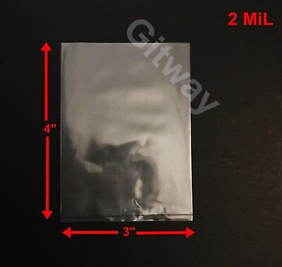"""3"""" x 4""""  Clear Plastic Poly LDPE Bags Lay Open Top Flat 3x4"""" 2 MiL 100 500 1000"""