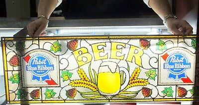 Vintage Pabst Blue Ribbon Beer Sign Faux Stained Glass PBR Hooks & Screws 12x36