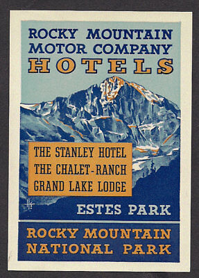 1930s Rocky Mountain Motor Company Colorado Hotels Luggage Label Poster Stamp