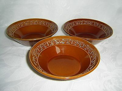 Beswick Retro /vintage Set Of 3 X Cereal / Dessert Dishes - Brown Zorba Pattern.