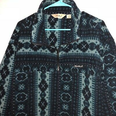 Euc Men Vtg Eddie Bauer Fleece Aztec Tribal Nordic Print Pullover Jacket Coat Xl