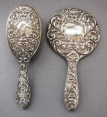 STERLING SILVER HAND MIRROR & BRUSH GREEN MAN & DOVES dressing table vanity hair