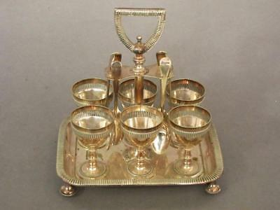 SUPERB ANTIQUE SILVER PLATED 6 EGG CUP CRUET STAND by WALKER & HALL 1880 coddler
