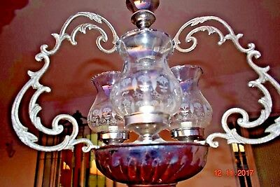 Old French Silver Cage Chandelier Etched Glass  Stunning 1930