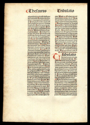 1481 Original  Incunable Leaf Mysterious Theologian Nicolaus de Byard  Dominican