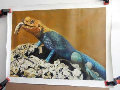 vintage old PAINTING oil on canvas jungle LIZARD signed