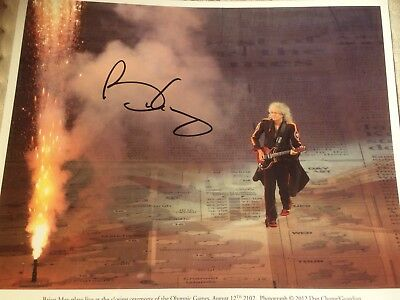 """Brian May Signed Autograph Photo 10"""" X 8"""" Raising Funds For Cancer Research"""