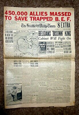 1940 Seattle Times - nearly complete - Newspaper with a Pabst Blue Ribbon Ad.