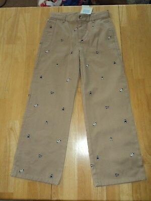 Janie and Jack Pants Boys 7 Khaki Pants with Lighthouse Flag Seagulls New Nwt