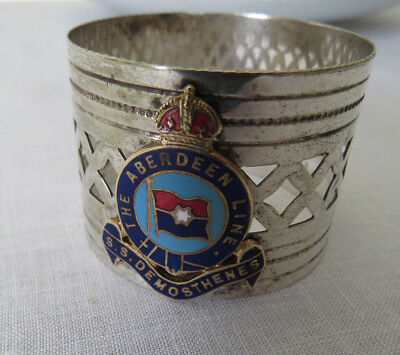 The S.S.Demosthenes - The Aberdeen Line - 1911 Napkin Ring WW1