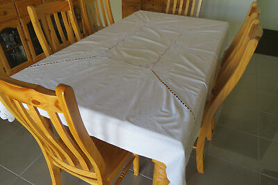 Gorgeous White on White Embroidery with Crochet Inserts Table Cloth