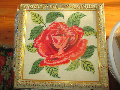 Vintage Embroidered Tapestry Pink Rose Wall Hanging Picture Carved Gold Frame