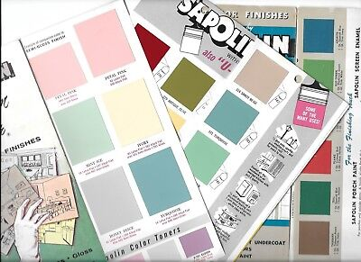 * VINTAGE *  SAPOLIN PAINT BROCHURES LOT Of 3 * COLOR SAMPLES * WALL ENAMEL ETC