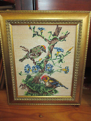 Vintage Embroidered Tapestry Birds In A Tree Picture Carved Gold Frame