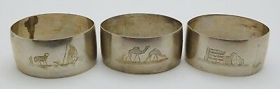 3 ~ FOREIGN Sterling Silver Napkin Rings