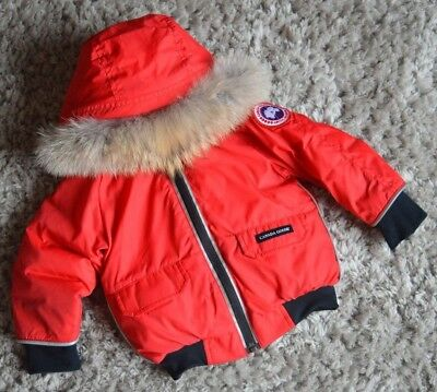 Canada Goose Baby Boy Or Girl Designer Raccoon Fur Down Filled Coat 1 Year Excon