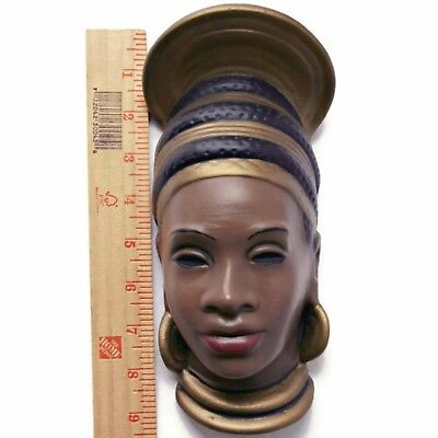 Vtg African Tribal Woman Head Wall Art Hand Painted Ceramic Plaque