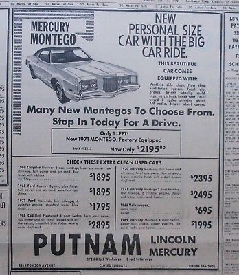 1972 newspaper ad for Mercury - Montego, Personal Size Car, Big Car Ride