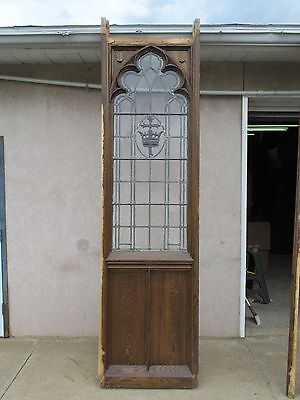 XL Antique Victorian Gothic Tiger Oak  Church Lead Glass Window Door Partition C