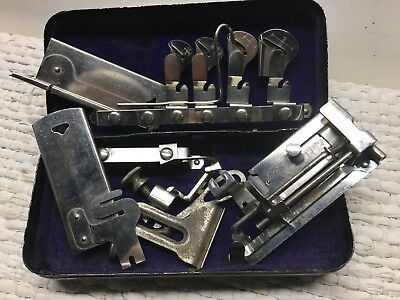 """Vintage Minnesota """"C"""" Treadle Sewing Machine Attachments with Case"""