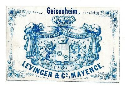 1870's LEVINGER & COMPANY, MAYENCE - MAINZ, GERMANY GEISENHEIM WINE LABEL