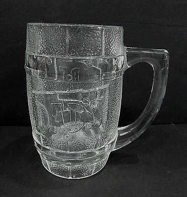 """Vintage Dads Root Beer Vintage Heavy Embossed Clear Glass Mug 5"""" Tall FREE S/H"""