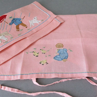 Vintage Hand Embroidered BABY Bib + Holder French POINT de BEAUVAIS Ducks LAMBS+