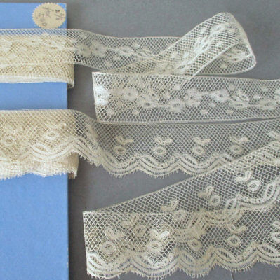"Card of 2 Antique Slender French LACE Trims 1 1/4"" VALENCIENNES 11+ Yds ~ DOLLS"