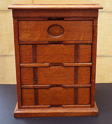 Rare Antique NATIONAL FILE CO Mini Oak 4 Drawer Cabinet & Pettibone Letter File