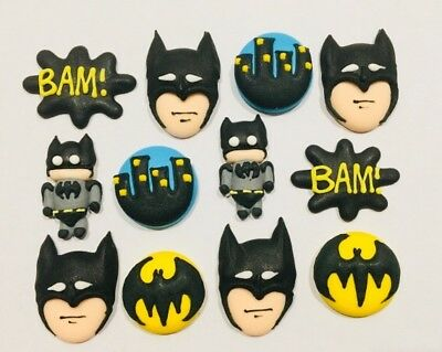 12 x Edible Icing Batman Cupcake Toppers Decorations Party Cakes