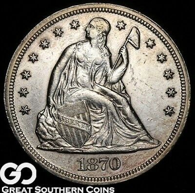 1870 Seated Liberty Dollar, Popular Silver $ Series, Choice AU++/Unc, Free S/H!