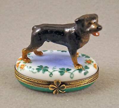 New Hand Painted French Limoges Trinket Box Rottweiler Dog On Clover Leaves