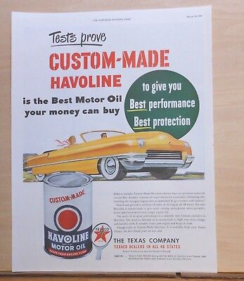 1950 magazine ad for Havoline - yellow convertible, Best Performance, protection