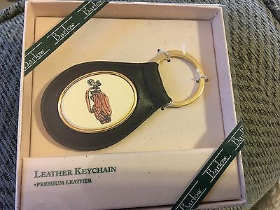 Key Ring Leather Barlow Scrimshaw Carved Painted Golf Bag NEW with box Free Ship