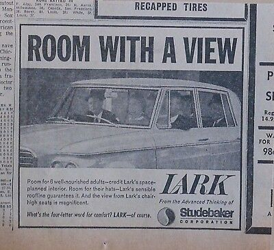1963 newspaper ad for Studebaker - Lark has interior for hats, Room With A View