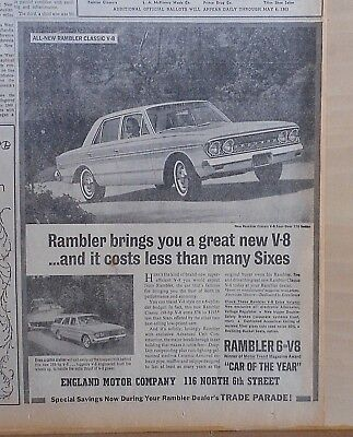 1963 newspaper ad for Rambler - Classic V-8 Four Door 770 Sedan, Car of the Year