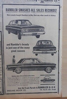 1963 newspaper ad for Rambler, Smashes All Sales Records, Beauty just one reason