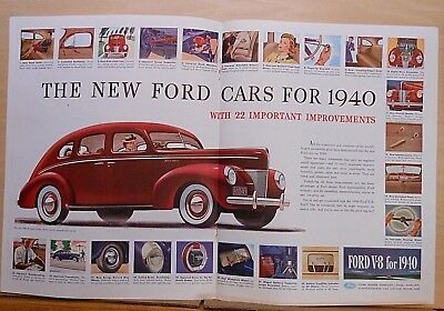 1939 double page magazine ad for Ford - 1940 models, 22 important improvements