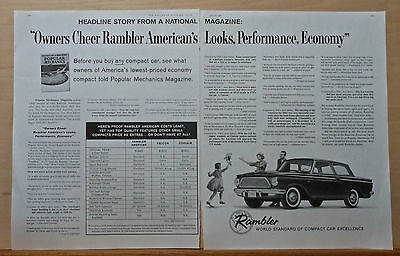 1961 two page magazine ad for Rambler - World Standard of Compact Car Excellence