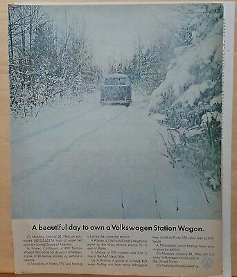 1966 magazine ad for Volkswagen, Station Wagon & snowstorm, beautiful day to own