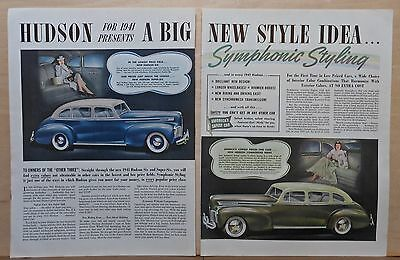 1940 two page magazine ad for Hudson - 1941 Six, Commodore, Symphonic Styling