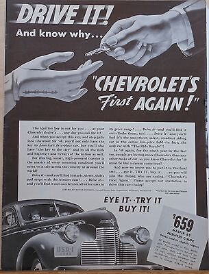1940 magazine ad for Chevrolet - Master 85 Business Coupe, Drive It!