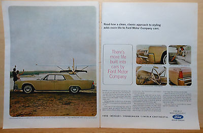 1963 two page magazine ad for Lincoln - 1964 Continental, Clean Classic styling